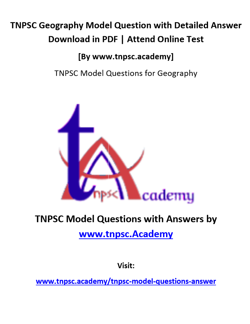 TNPSC Geography Model Questions