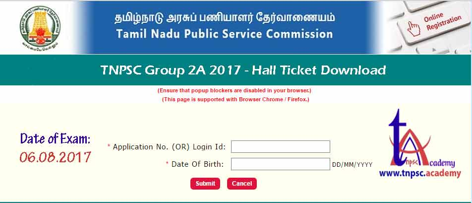 Group 2A Hall Ticket 2017
